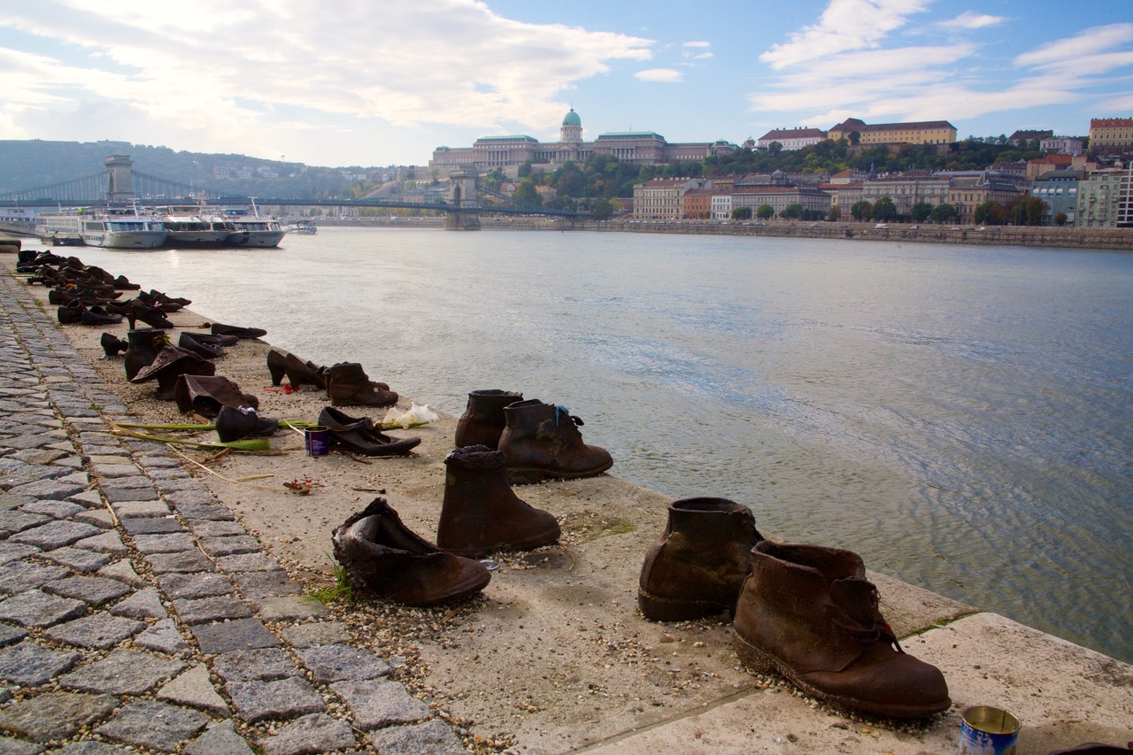 The shoes on the Danube Promenade in Budapest, Hungary