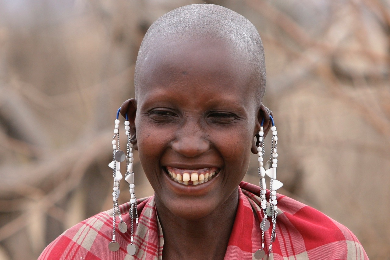 Having a laugh with the Maasai