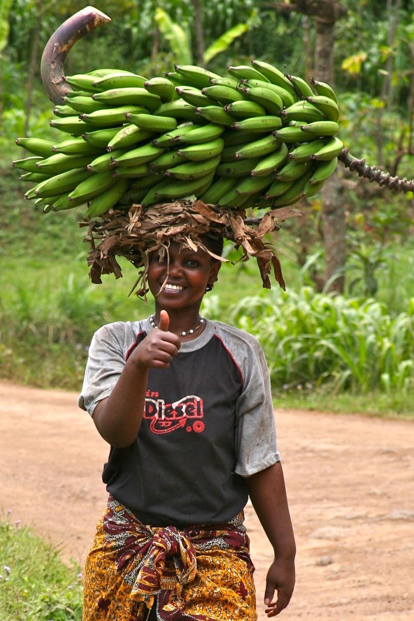 Happy woman in Mount Kilimanjaro National Park