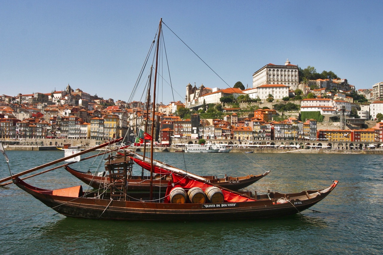 Traditional Rabelo boat waiting for port on the Douro river