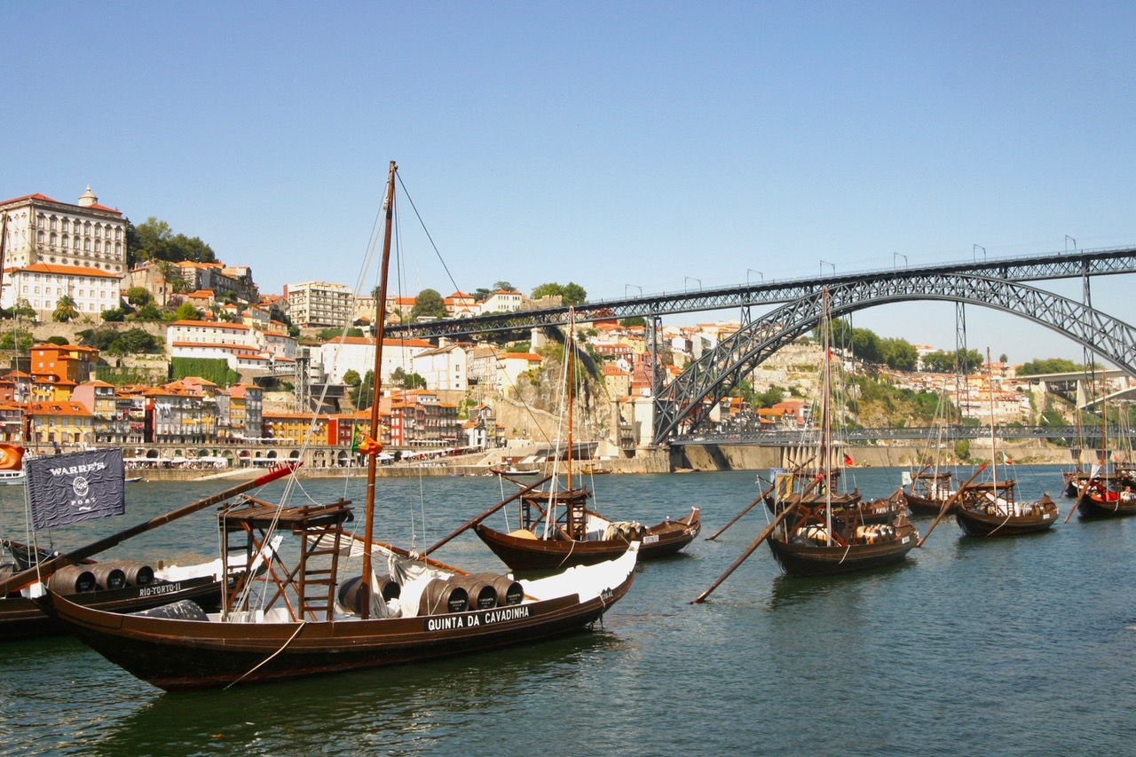 Rabelo boats waiting for Port along the Douro River, Porto