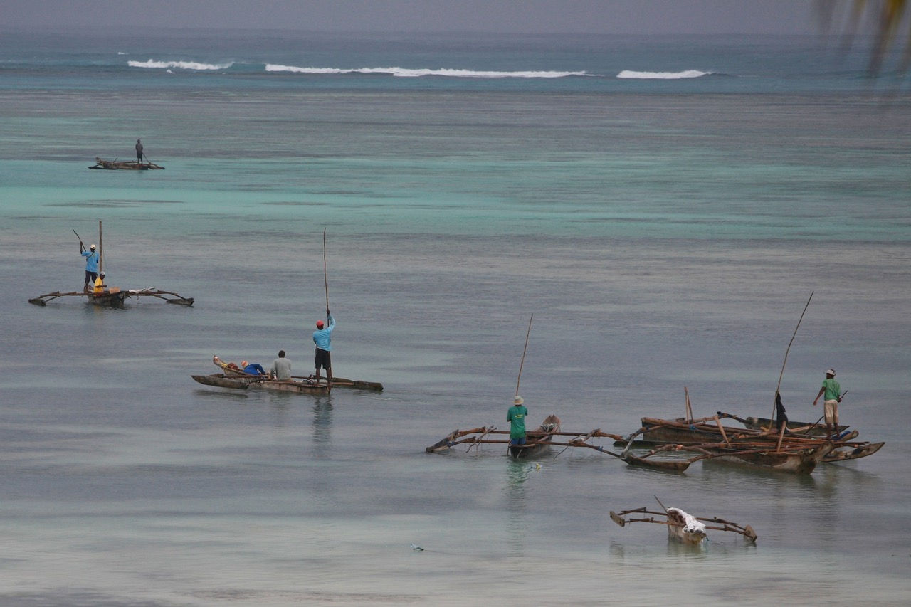 FIshermen at work in Dongwe, Zanzibar