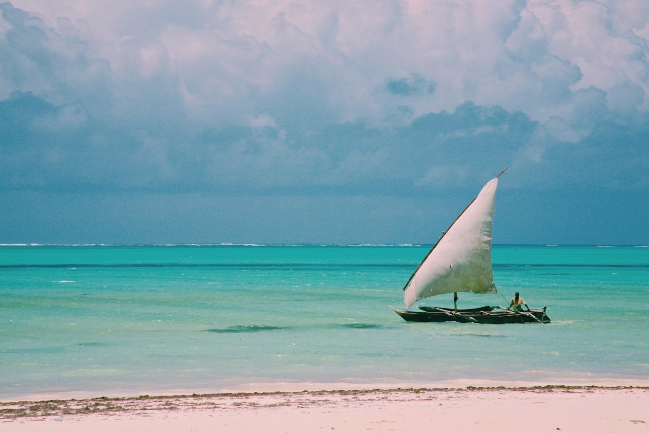 Watching Dhows sailing by at Paje Beach, Zanzibar