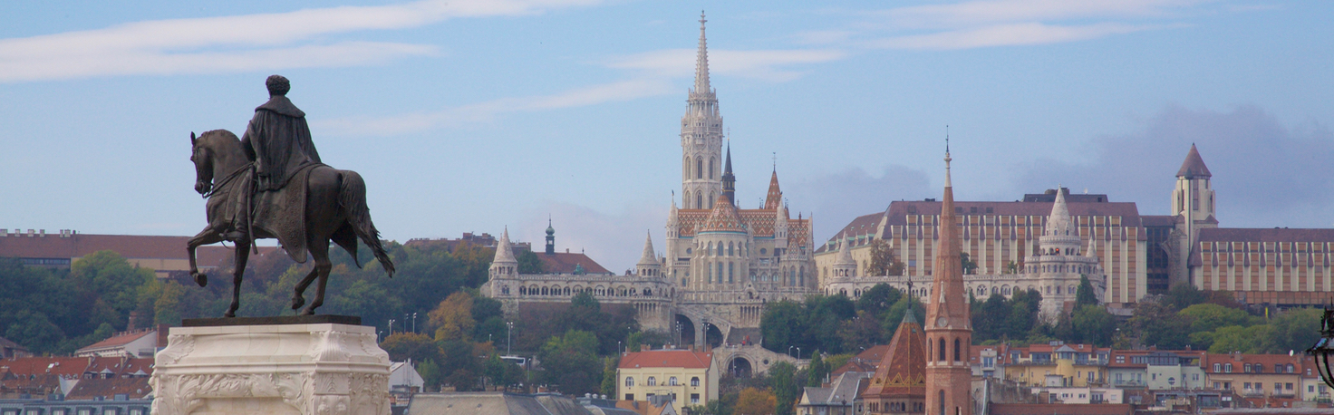 Fisherman's Bastion, seen from Pest bank, Budapest, Hungary